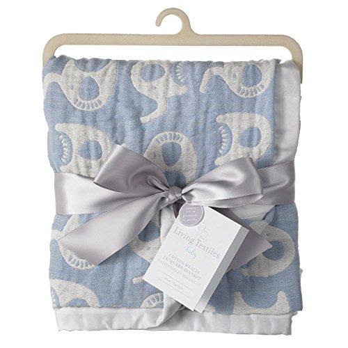 Living Textiles Muslin Jacquard Blanket, Blue Elephant