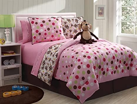 Cute pc Reversible Girls Pink W polka Dot Comforter Set Twin Size
