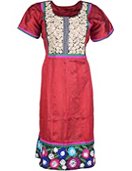 Elegant Blended Women Kurta (38738 Try, Pink & Blue, Free Size)
