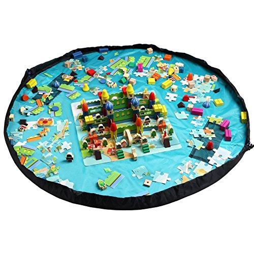 Home-Cube-Kinder-Aufrumsack-spielzeugtasche-Spielzeug-Speicher-Tasche-Spielzeugaufbewahrung-Aufbewahrung-Beutel-Wasserdichte-Spieldecke-Helle-Blau