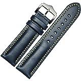 フーポット 時計バンド 本革 交換ベルト 上品なクラシックスタイル 時計用 ベルト オイリーカウハイド レザーワンタッチで装着簡単 アダプター付き (ブルー)