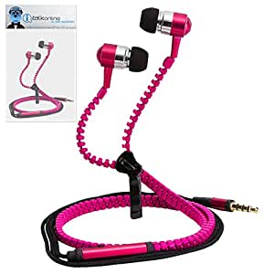 Pink Premium 3.5mm Aluminium ZIPPER In Ear Stereo Wired Headset Hands Free Headphones with Built in Mic Microphone and On Off Button For Karbonn Smart Tab 10