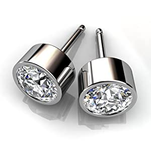 Platinum Stylish Bezel Set Studs with a Perfectly Matched Pair of Round Brilliant Cut Diamonds Set 3 CTW