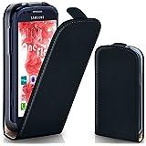 OneFlow Tasche für Samsung Galaxy S3 Mini Hülle Cover mit Magnet | Flip Case Etui Handyhülle zum Aufklappen | Handytasche Handy Schutz Bumper Schutzhülle mit Schale in Schwarz