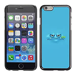 Omega Covers - Snap on Hard Back Case Cover Shell FOR Apple Iphone 6 Plus / 6S Plus ( 5.5 ) - Blue Frog Cartoon Grumpy Monster