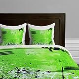 DENY Designs Madart Garden Delight Green Dreams Duvet Cover, Queen