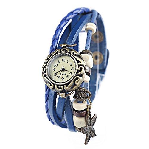 Dayan Starfish Charm Women Ladies Weave Wrap Around Leather Belt Bracelet Watch Blue