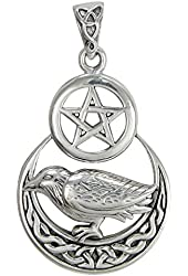 Sterling Silver Raven Crescent Moon Wiccan Pentacle Pendant Jewelry