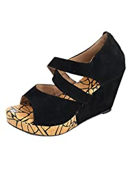 Kanchan Women's Velvet Wedges Heel Fashion Sandal