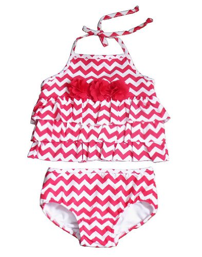 Peaches N Cream Girls 2T-4T Red White Chevron Ruffle 2-Pc Tankini Swimsuit, 3T front-981921