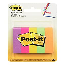 Post-it® Page Markers, 1/2-inch x 1-3/4 Inch, Ideal for Temporary Marking and Noting In Books, Assorted Ultra Colors, 500 per Pack