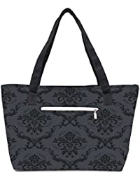 Pack Of 2 Grey And Black Pattern Combo Tote Shopping Grocery Bag With Coin Pencil Purse