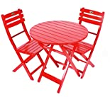3 Piece Folding Bistro Set - Red UV Painted Finish