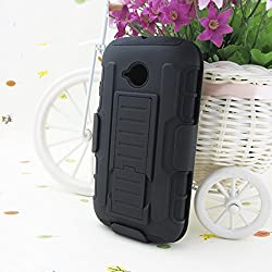 Pudini Hybrid Armor Holster Case Cover for Motorola Moto E 2nd Gen Moto E2 - Black - Free Screenguard
