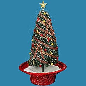 "Mark Roberts Snowing Musical Christmas Tree Gold Skirt -75"" Tall"