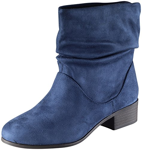Soda Women's Energy Slouchy Round Toe Sueded Boot (10 B(M) US, Blue) (Soda Suede Boots compare prices)
