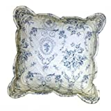 Paoletti Etoille Toile De Jouy Cotton Cushion Cover WhiteBlue 45 x 45 Cm