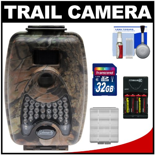 Coleman Ch200 Trail Cam Motion Sensor Digital Video Camera With Infrared Night Vision With 32Gb Card + Batteries & Charger + Kit