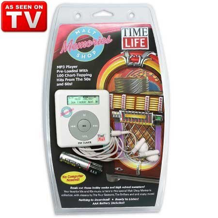 TIME-LIFE MALT SHOP MEMORIES MP3 PLAYER PRELOADED WITH 100 OLDIES FROM THE 50′S & 60′S