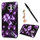 S6 Edge Plus Case,Samsung Galaxy S6 Edge Plus Case - Badalink Premuim Flexible Soft TPU Rubber Skin Gel Bumper Ultra-thin Slim Fit Print Cover with Dust Plug & Stylus Pen - Purple Butterflies