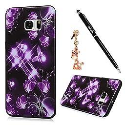 S6 Edge Plus Case,Samsung Galaxy S6 Edge Plus Case - Badalink Premuim Flexible Soft TPU Rubber Skin Gel Bumper Ultra-thin Slim Fit Print Cover with Dust Plug & Stylus Pen - Purple Butterflies