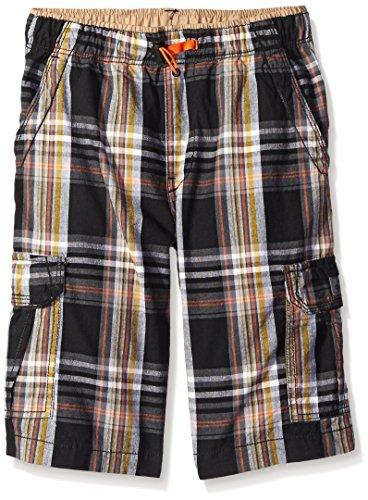 Unionbay Big Boys Plaid 360 Waist Cargo Short, Black, 16