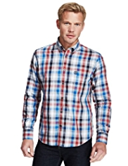 Blue Harbour Supersoft Pure Cotton Marl Grid Checked Shirt