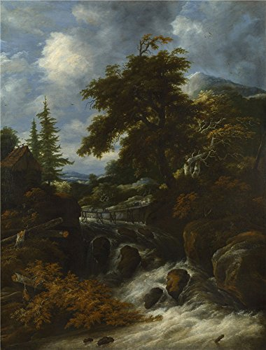 The Perfect effect canvas of oil painting 'Jacob Salomonsz. van Ruysdael A Waterfall by a Cottage in a Hilly Landscape ' ,size: 20 x 26 inch / 51 x 67 cm ,this Cheap but High quality Art Decorative Art Decorative Canvas Prints is fit for Hallway decor and Home artwork and Gifts