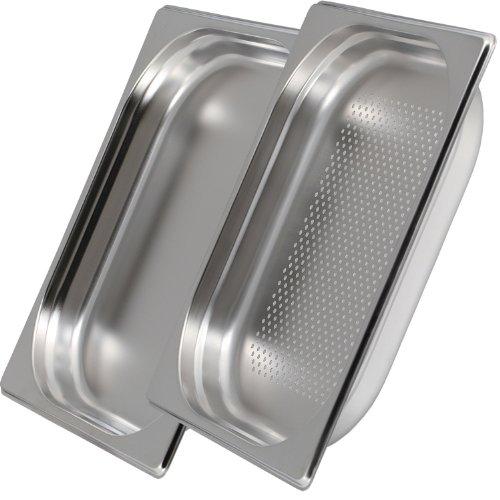 Greyfish 2er GN Behälter SET :: 1x gelocht / 1x ungelocht :: für Gaggenau / Miele / Siemens Dampfgarer (Edelstahl / Spülmaschinen geeignet, GN 2/3, B 32,5 x L 35,4 x 40mm tief)