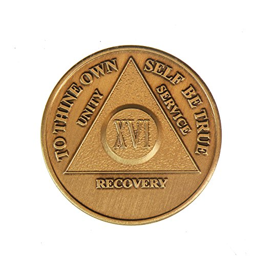 16 Year Bronze AA (Alcoholics Anonymous) - Sober / Sobriety / Birthday / Anniversary / Recovery / Medallion / Coin / Chip - 1