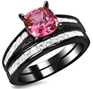 2.32ct Cushion Cut Pink Sapphire Diamond Engagement Ring Bridal Wedding Set 14k Black Gold Rhodium…