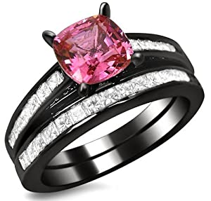 2.32ct Cushion Cut Pink Sapphire Diamond Engagement Ring Bridal Wedding Set 14k Black Gold Rhodium Plating Over White Gold