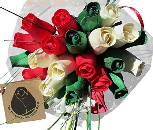 Christmas Flower Bouquet The Original Wooden Rose Closed bud (2 Dozen)