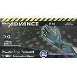 Diamond Gloves Black Advance Powder-Free Nitrile Examination Gloves, 6.3 Mil, Heavy Duty, Medical Grade, 100 Count XXL