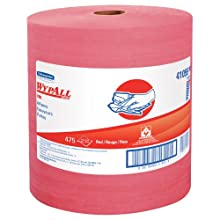 "Kimberly-Clark Wypall X80 Disposable Wiper, 13-25/64"" Length x 12-1/2"" Width, Red (Roll of 475)"