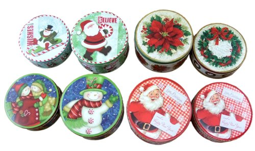 8 Ct. Christmas Empty Tins With Tissue Papers - Poinsettia, Santa & Snowman