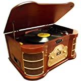 Pyle Home PTCDS2UI AM/FM Radio/CD/Cassette/USB Classic Turntable with iPod Dock
