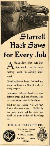 1916 Ad L S Starrett Tool Hack Saws Antique World War I - Original Print Ad