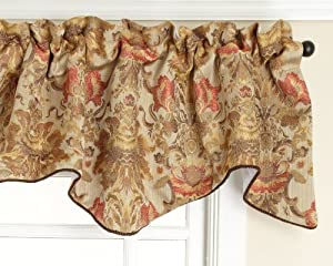 Stylemaster Como Lined Scalloped Valance with Cording, Tuscan, 50 by