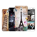 Kwmobile® 4in1 set: 3x Hard case City design for HTC Desire 610 in Paris, London etc. + Skin, crystal clear