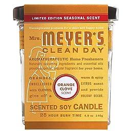 Mrs. Meyer\'s, Soy Candle, Orange Clove, 4.9 Oz