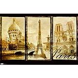 Paris (Triptych, Sacre Couer, Eiffel Tower, Notre Dame) Art Poster Print Poster Poster Print, 34x22