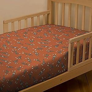 Orange Sock Monkey Toddler Sheet Bottom Fitted