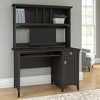 Bush Furniture Salinas Mission Style Desk with Hutch in Vintage Black