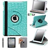 E LV Cover for iPad Mini 2 with Retina Display (7.9 inch Tablet) & iPad Mini (7.9 inch Tablet) 360 Degrees Rotating Stand Leather Smart Case Luxury Crocodile/Tribal Pattern with 1 Screen Protector, 1 Black Stylus and Microfiber Digital Cleaner (With Auto Wake/Sleep Smart Cover Function)
