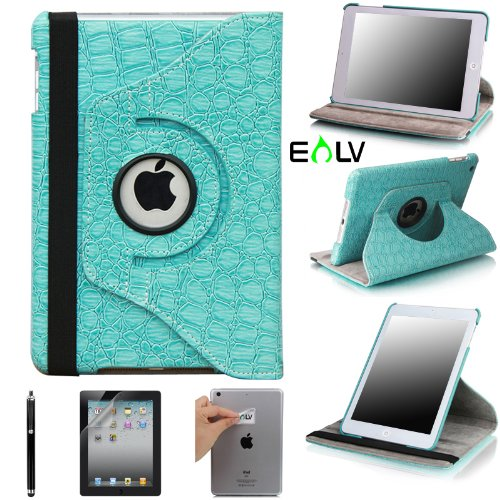 Buy E-LV 360 Degrees Rotating Stand Leather Smart Case for Apple iPad Mini/iPad Nano Luxury Crocodil...