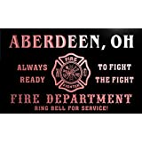 qy62847-r FIRE DEPT ABERDEEN, OH OHIO Firefighter Neon Sign Enseigne Lumineuse