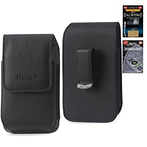 Samsung Intensity III Vertical Leather Case with Magnetic closure with belt clip and belt loops (Plus Size will Fit w/ Otterbox Commuter on) + Cell Phone Antenna Booster and Anti Radiation Shield