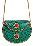 Urban Stitch Handmade Lakh Antique Green Casual, Party Clutch cum Sling Made in India