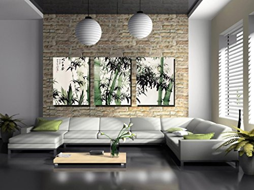 Espritte Art-Large Chinese Painting of Bamboo on Canvas Print without Framed, Modern Home Decorations Wall Art set of 3 Each is 40*60cm #D09-317